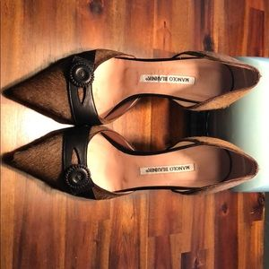 Manolo Blahnick Brown Mohair Heels-Very Unique!